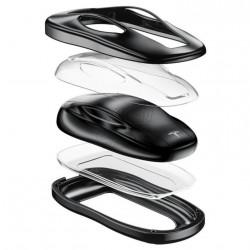 Protezione per chiavi in alluminio, pelle e guscio rigido in plastica - Tesla Model S, 3 e X
