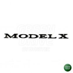 "MODEL X"" matte black rear trunk emblem - Tesla Model X"