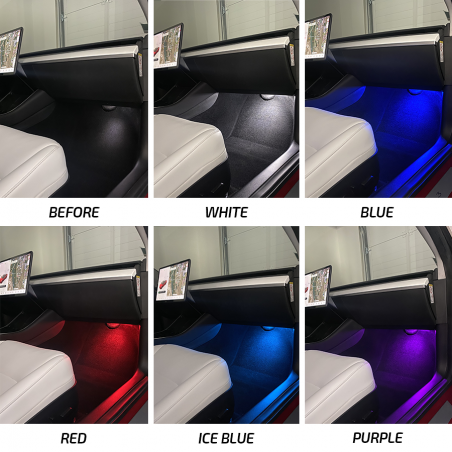 Lumière d'ambiance espace pieds - Tesla Model 3 et Y