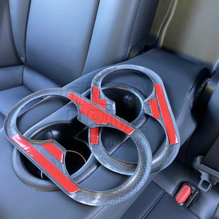 Carbon Rear Cup Holder Insert - Tesla Model 3 and Y