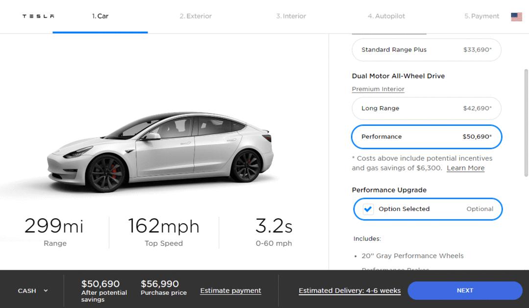Tesla Model 3 avec le kit performance gratuitement